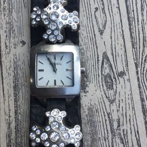 Fossil crystal cross band watch